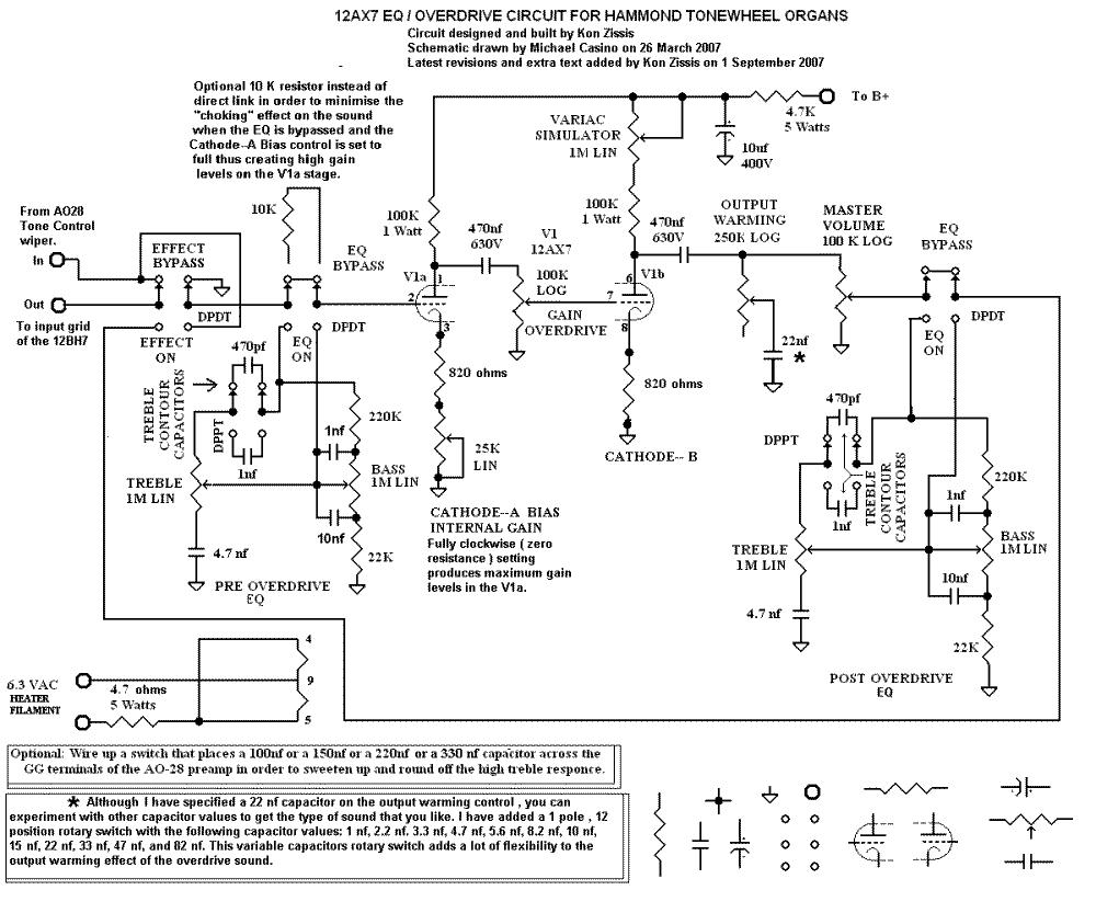HammondWiki - Kons 12 AX7 based EQ&Overdrive Circuit on tube organ schematic, vibrolux reverb schematic, hammond m2, leslie 147 schematic, guitar rectifier schematic, yamaha organ schematic, kustom bass amp schematic, leslie 122 schematic, kustom 100 schematic, peavey combo 300 schematic, fender jazz bass schematic, 6au6 preamp schematic, kustom preamp schematic, hammond cv preamp, hammond transformer wiring diagrams, grid tie inverter schematic, wurlitzer organ schematic, 145 leslie preamp schematic,